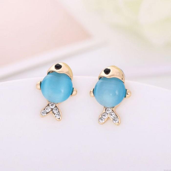 Belle Doré Diamant Opale FishGuitar animaux Boucles d'oreilles