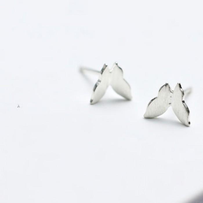 Boucles d'oreilles animaux mignons originaux Mini pur papillon simple argent brossé argent