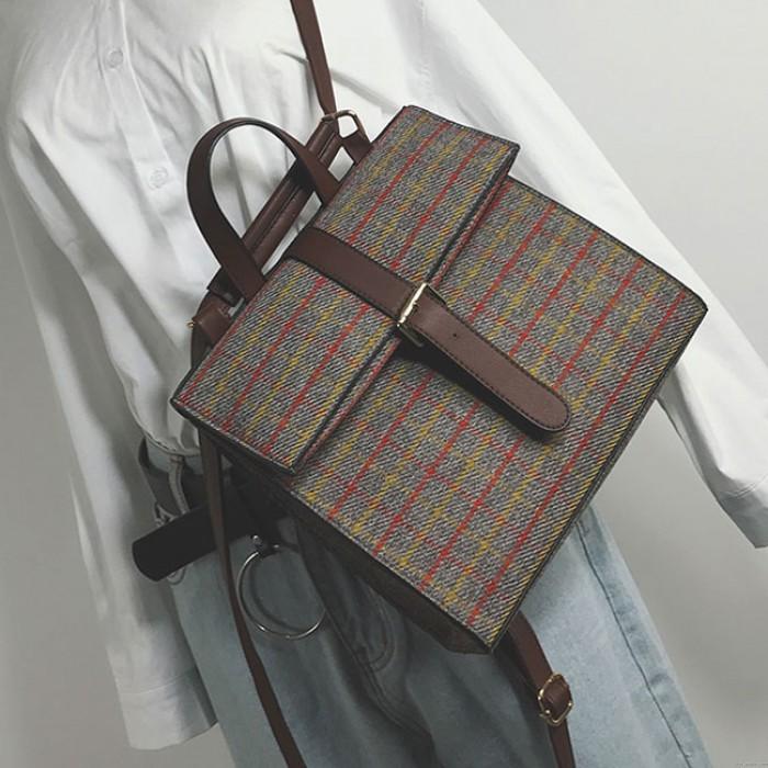 Bouton de grille carrée rétro simple Multifonctionnel Sac d'épaule Sac à dos scolaire