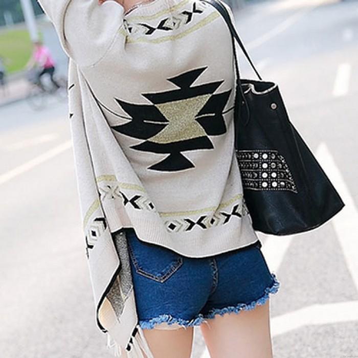 Folk Loosen Cardigan Sweater Cloak Fringed Irregular Knitwear Coat