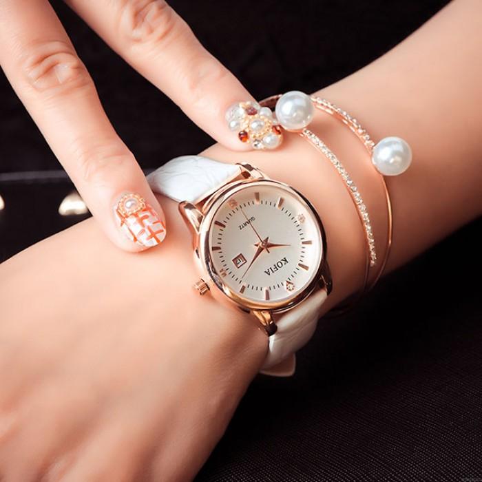 Femmes corticales élégantes montre de poignet de quartz de calendrier de diamant imperméable
