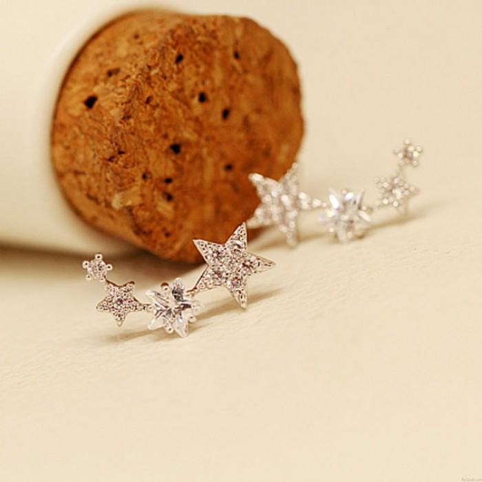Brillant étoiles feuilles diamant strass femmes mode boucles d'oreilles goujons