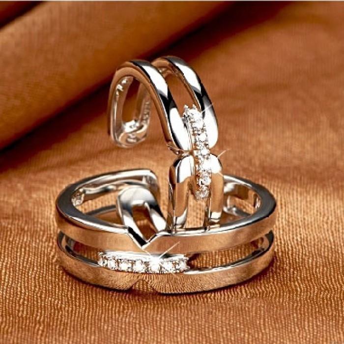 Creux Zircon Argent Couple Ouverture Bague