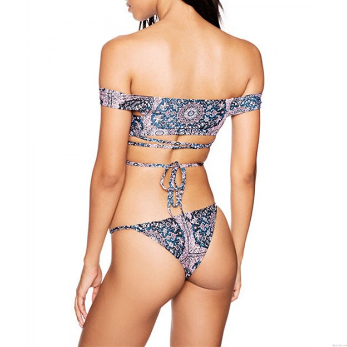 Sexy maillot de bain épaule costume sangle ventre Bikini Set maillots de bain sexy