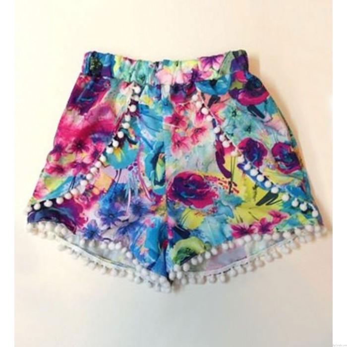 Floral Print Elastic Waist Chiffon Fringed Beach Summer Shorts