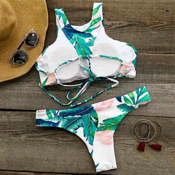 Ocean Palm impression Bikini Set de nouvelles femmes Sexy Swimsuit Suit Baignade Maillots de bain