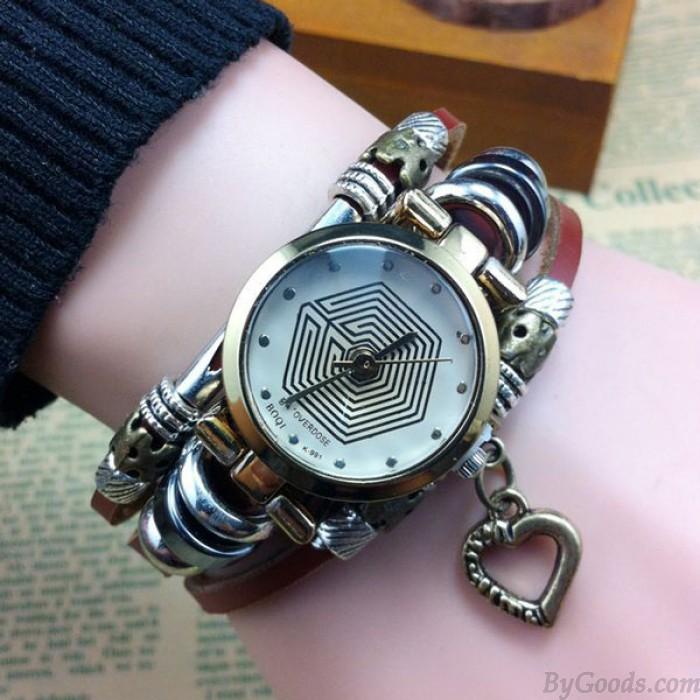 Reloj de pulsera de acero con corazón de patrón de ocho diagramas de la vendimia