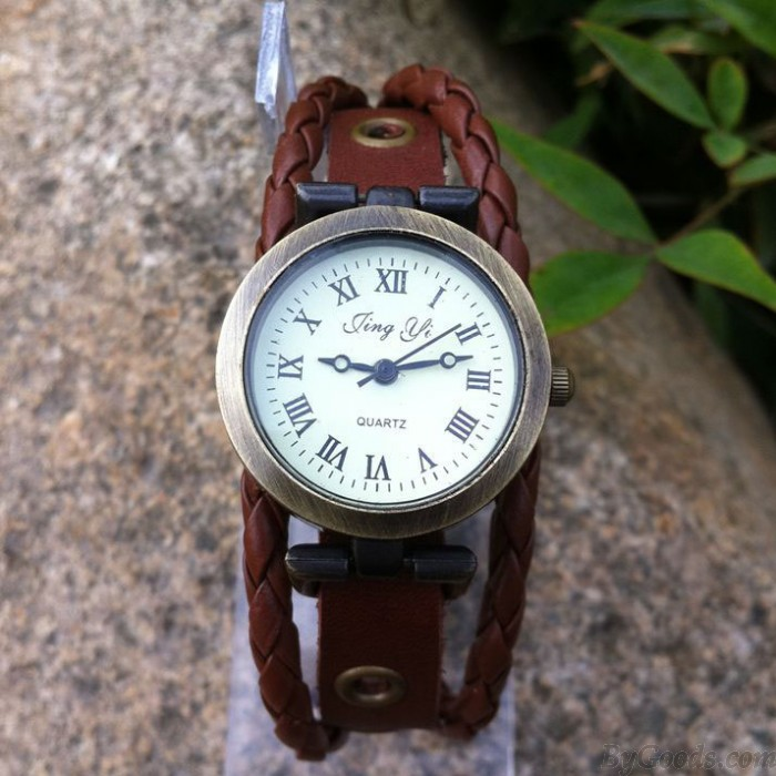 Reloj de pulsera de cuero de cuerda clásica