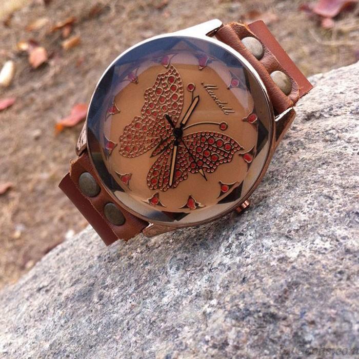 Reloj de pulsera retro hecho a mano de cuero de la mujer de la mariposa del zurriago