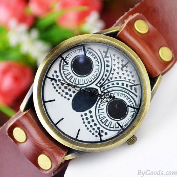 Retro Owl Rivet Leather Watch