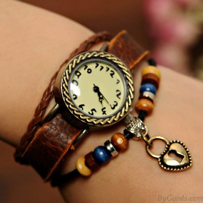Handmade Heart Lock Bracelet Watch