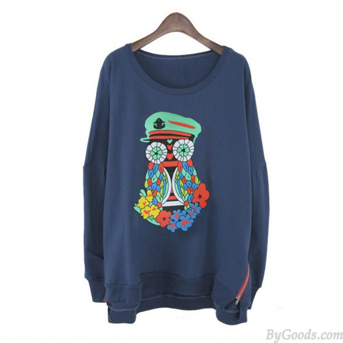 Lovely Cartoon owl Flower Sleeved Sweater&Shirt