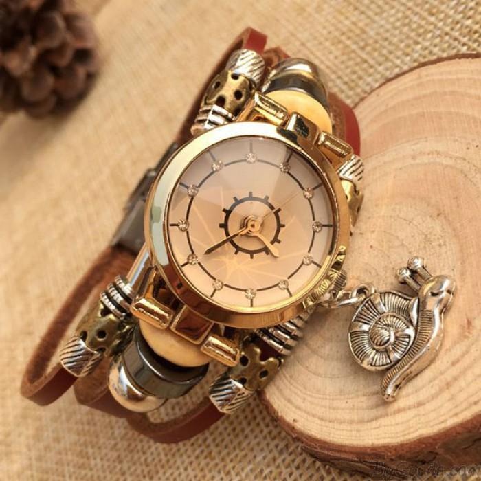 Reloj de pulsera de cuero de moda Snail Charm