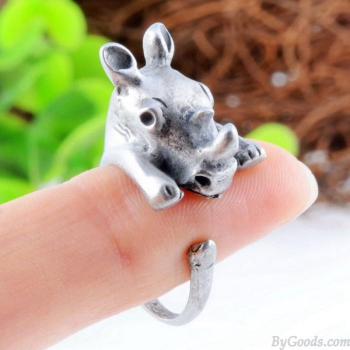 Bebé Linda Rinoceronte en forma de Apertura anillo Aleación anillo