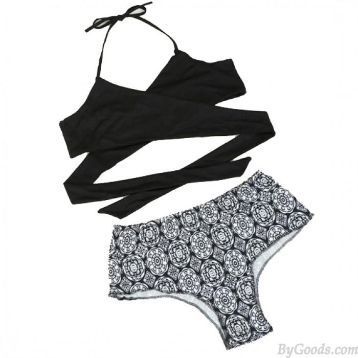 Cabestro Correas Irregular Impresión Bikini Traje de baño para mujeres