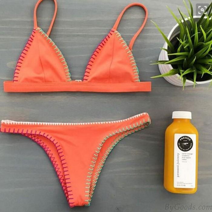 Traje de baño atractivo anaranjado del bikini del halter atractivo del traje de baño de la playa para las mujeres