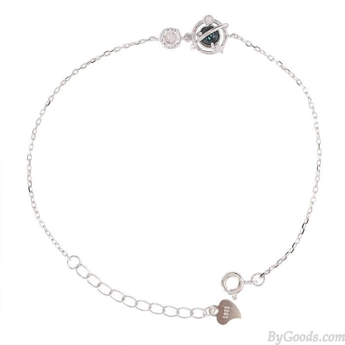 Diseño único Crystal Planet Pulsera de plata para dama