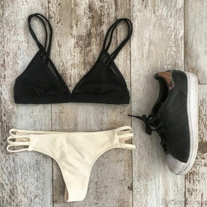 Traje de Baño Sexy Bikini Traje de baño Negro y Crema Traje de baño