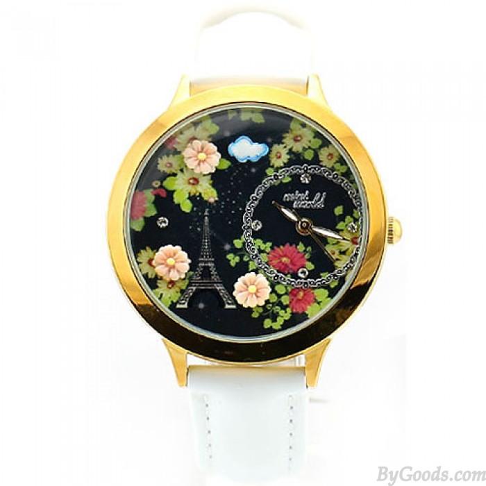 Elegant Black Floral Eiffel Tower Watch