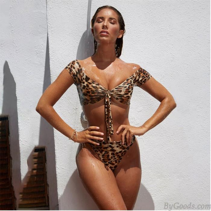 Bikinis sexy leopardo nuevo cintura alta corbata mujer traje de baño