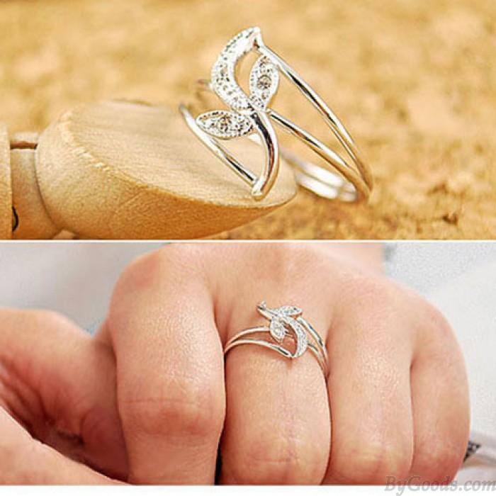 Elegante Sencillo Tulipán Hojas anillos