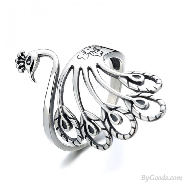 Forma de pavo real retro Anillo ajustable Anillo animal Anillos de dedo trenzados de plata abiertos