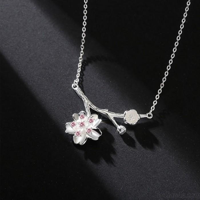 Moda Cereza Rama Colgante Collar de Plata Rosa Amante de Cristal Regalo Novia Regalo Flor Mujeres Collar