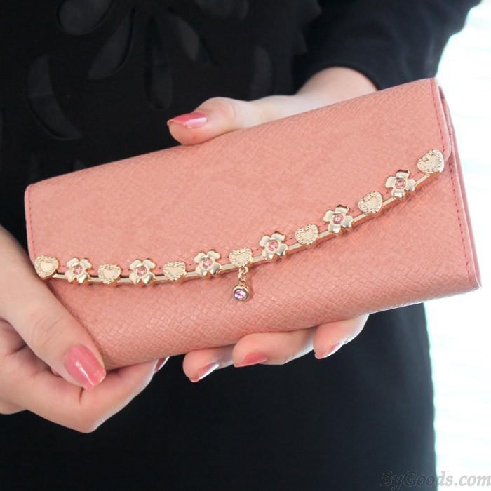 Elegant Alloyed Floral Leather Wallet
