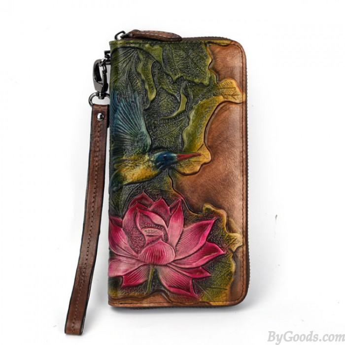 Retro Original Loto Flor Lotus Leaf Bird Clásico Bolso de embrague Billetera en relieve