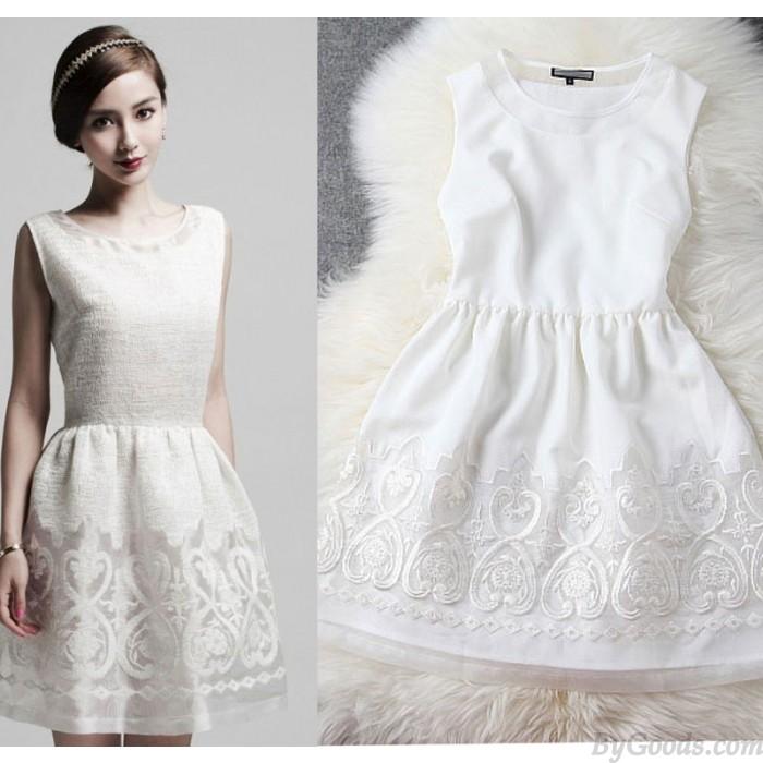 Vestido y vestido de fiesta bordados con dobladillo negro y blanco de nueva moda