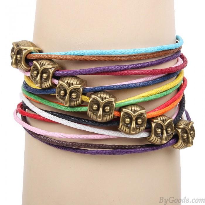 Unique Owl Colorful Rope Bracelet
