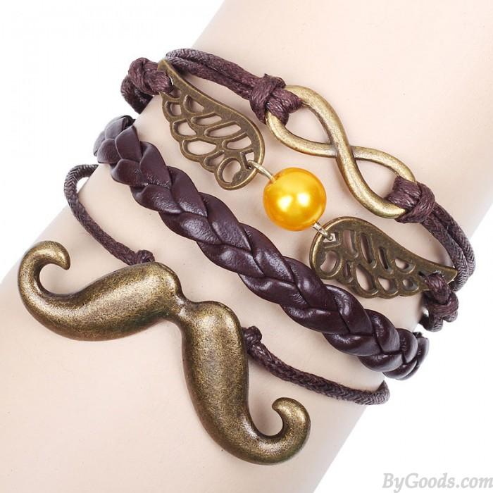 Retro Beard Wings Infinity Bracelet