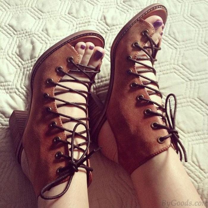 vintage verano grueso con sandalias romanas vendaje tacones zapatos de cuero