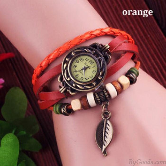 Retro Cute Leaf Leather Bracelet Watches