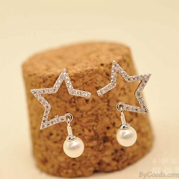 Pendientes de plata del pendiente de la estrella de la muchacha de la muchacha ahuecada hacia fuera de la perla de la estrella de la manera de la muchacha