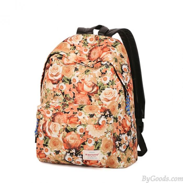 Fresco Romántico Floral Flores Patrón viajar Mochila Bolsa para la escuela