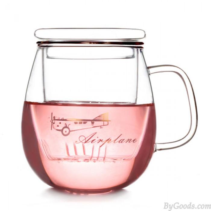 Colador y tapa de copa Taza de vidrio grueso de tres piezas