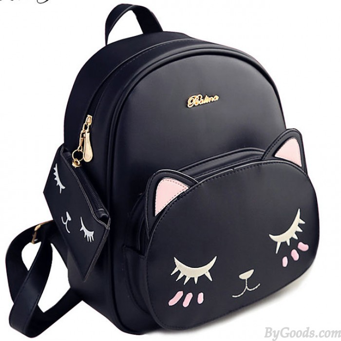 Moda PU linda Impresión Cat Ocio Bote Dibujos animados Gatito Colegio Mochilas