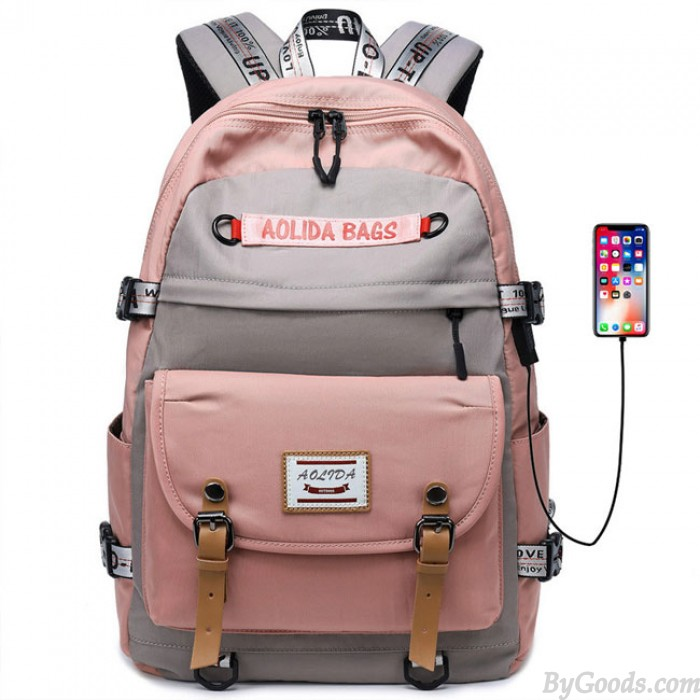 Nuevo bolso de costura de contraste para estudiantes Mochila para computadora de gran capacidad USB Mochila para exteriores