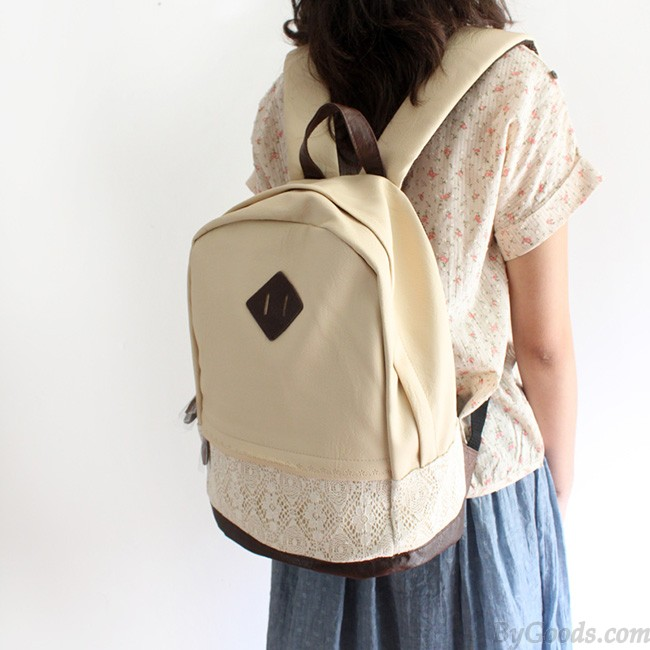 College Cute Spliced Lace Backpack