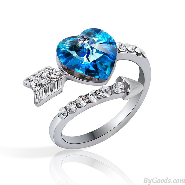 Dulce Las flechas De Amor Corazón Cristal anillo