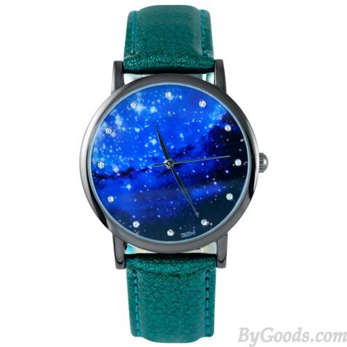 Reloj Galaxy Fashion Diamond Pattern Diamond Metal PU