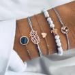 Retro Rosario Mapa Tortuga Diamante azul Piña Conjunto de pulsera de cinco piezas con turquesa negra Love