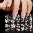 Etiqueta engomada de la etiqueta engomada del arte del clavo de la cubierta del diamante de la flor del cordón hueco blanco fresco