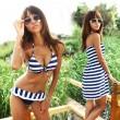 Bikini a rayas de tres piezas / cubierta de traje de baño