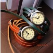 Vintage Style 5 circles dial Leather Retro Watch