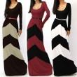 Vestidos largos de color geométrico sexy de moda