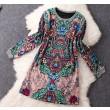 Vestido de lana de manga larga de temperamento retro estampado