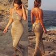 Vestido sin espalda envuelto atractivo / vestido de playa