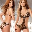 Sexy Leopard salvaje con cuello en v estampado leopardo frente ahuecado sin espalda mono ropa interior